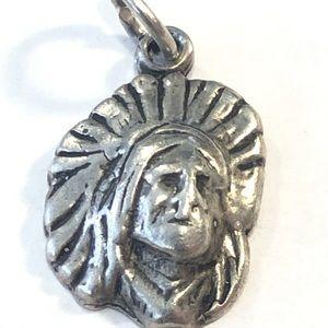 Vintage Native American head Charm Bracelet